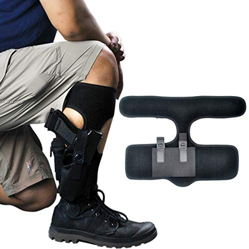 Universal Concealed Carry Ankle Holster for Revolvers/Pistols w/ Mag Pouch - Fits M&P Shield 9mm/Glock 19 40 43/Ruger LCP 380/Taurus G2C/XDS 45/1911 and More - for Women and Men - Left/Right Handed (Best Revolver For Ankle Carry)