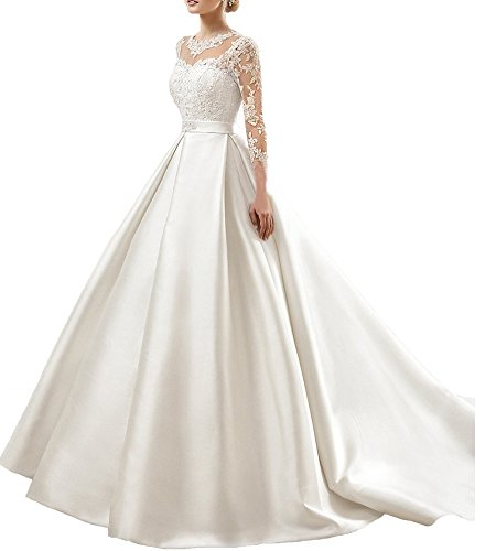 Beauty Bridal Flowers Women Long Wedding Dresses with Long Sleeves(26W,White)