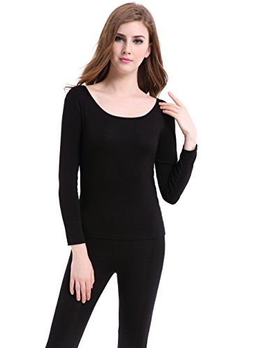 Thermal Underwear Women Long - Scoop Neck Ultra - Thin Johns Set Top & Bottom Black