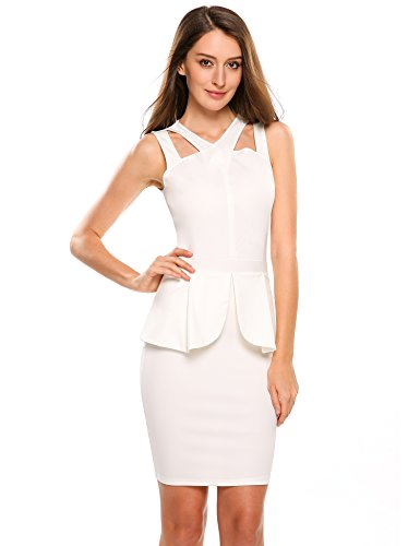 Square Neckline Satin (ANGVNS Women's Sleeveless Solid Bodycon Midi or Mini Peplum Dress with Square Neckline,White,Small)