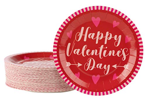 Disposable Plates - 80-Count Paper Plates, Valentines Party Supplies for Appetizer, Lunch, Dinner, Dessert, Happy Valentine's Day and Hearts Design, Red, 9 Inches Diameter