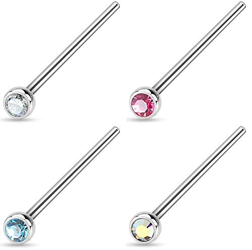 Forbidden Body Jewelry 18g 4-Pack Surgical Steel 2mm Press Fit CZ Fishtail Custom Bend Nose Studs