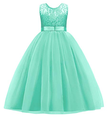 Little Big Girl Prom Ball Gown Kids Katie Rose Lace Tulle Wedding Party Dresses for Pageant Flower Formal Bridesmaid Princess Dance Skirt 5-14 Years Turquoise 7-8T