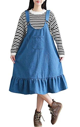 Gihuo Women's Denim Suspender Skirt Bib Overalls Mini Dress Trimmed With Flounces (Blue, Small) (Ruffle Trimmed Suspender)
