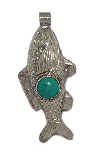 (Large Fish Pendant Turquoise pendant Animal Pendant Tibetan Pendant Nepalese Pendant PB300)