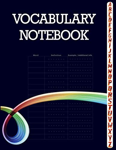 Vocabulary Notebook: 100 Page Notebook, Large Notebook 3 Columns with A-Z Tabs Printed, Vocabulary - Sign Metal Rustic