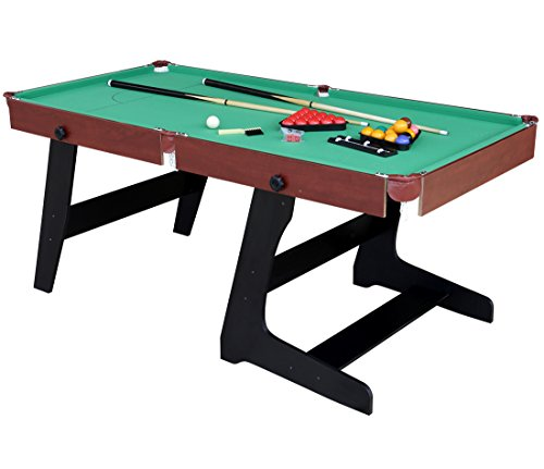 [HLC 6ft Green Foldaway Snooker/Pool Table with Snooker and Pool Ball Sets] (Folding Pool Table)
