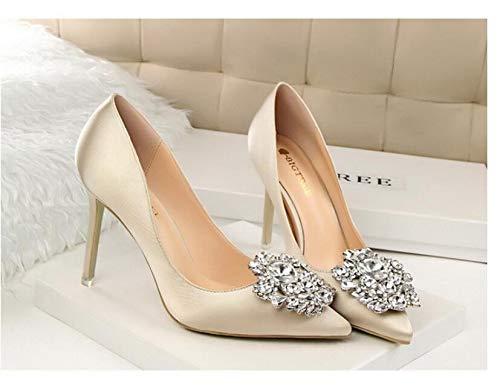 Mince Pointu De Chaussures Satin Élégant 10Cm Femmes Sexy Chaussures Simples Pompes LIANGHUA Talons Hauts Automne Talon Chaussures Strass Femme Soie Printemps Hauteur du Hwxv1R5q