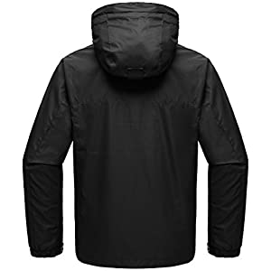 Wantdo Men's Zip Rain Jacket Windproof Windbreaker Outwear Coat for Mountaineering Black XL