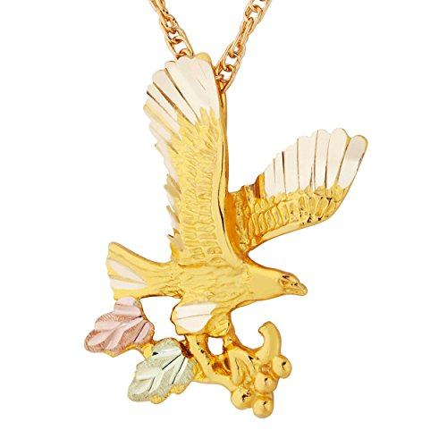 (Eagle Pendant Necklace, 10k Yellow Gold, 12k Green and Rose Gold Black Hills Gold Motif, 18