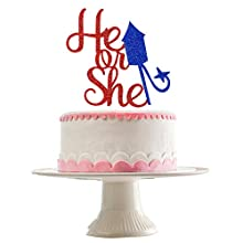 Red Glittery He or She Cake Topper- 4th of July Baby Shower Party Decorations,Baby Shower Cake Decor