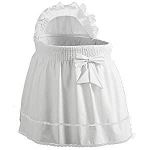 Baby Doll Bedding Neutral Sea Shell Bassinet Liner for boy and girl, White
