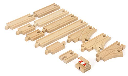 BRIO World - 33394 Starter Track Pack | 13 Piece Wooden Train Tracks for Kids Ages 3 and - Game Tracks Train