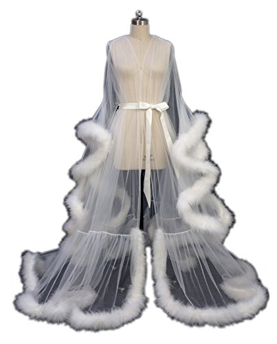 Sheer Feather - Sexy Feather Bridal Robe Tulle Illusion Long Wedding Scarf New Custom Made (Ivory, S)