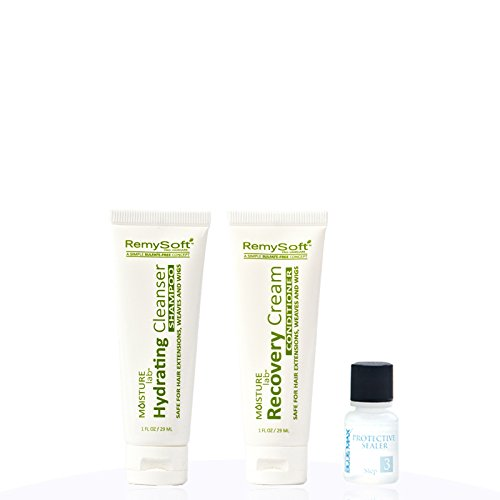 Moisturizing Shampoo Hydrating Formula - RemySoft Moisturelab Travel Set - Safe for Hair Extensions, Weaves and Wigs - Salon Formula Shampoo, Conditioner & Serum - Gentle Sulfate-free Lather