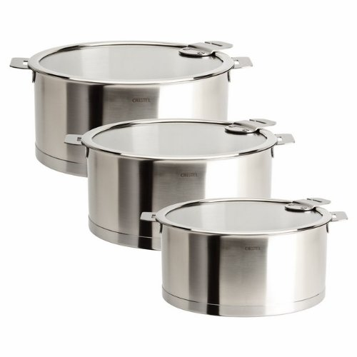 Cristel Strate Set of 3 Saucepans with Lids