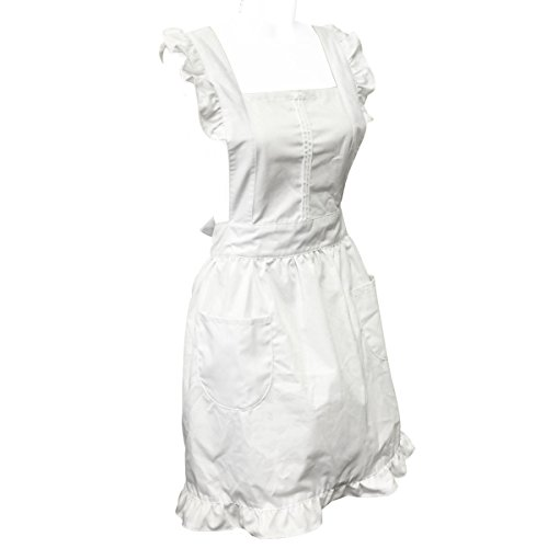 allydrew Retro White Cosplay Kitchen Maid Apron