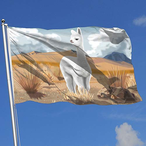 DENETRI DYERHOWARD Fly Breeze 3 X 5 Foot Flag Cute Alpaca Art Vivid Color and UV Fade Resistant Canvas Header and Double Stitched Garden Flags ()