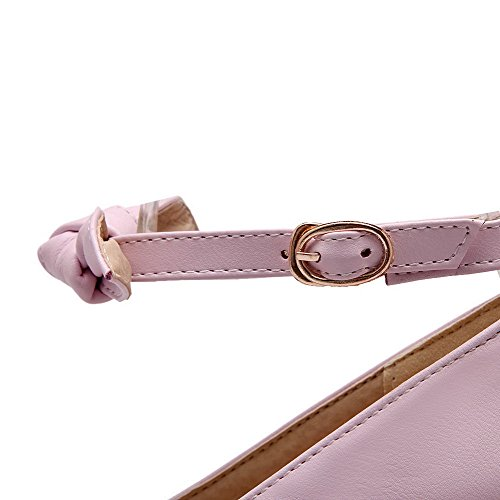 AmoonyFashion Womens Solid Pu High Heels Round Closed Toe Buckle Pumps-Shoes Purple dUmYc
