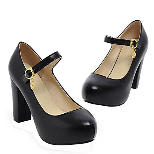AIYOUMEI Damen Knöchelriemchen Plateau Mary Jane Pumps mit 9cm Absatz Bequem Bürodame Schuhe Schwarz