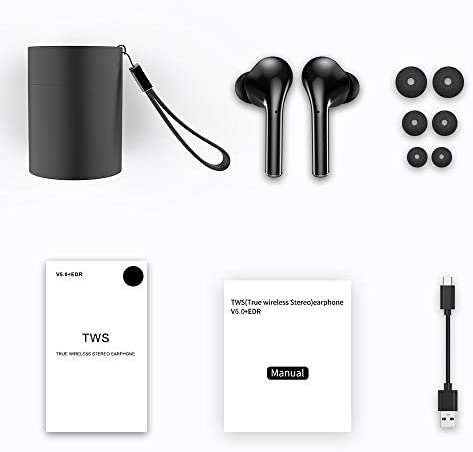 True Wireless Earbuds TWS Bluetooth Headphones in-Ear Stereo Earphones Built-in Microphone Rechargable Wireless Headsets with Portable Charging Case Compatible iPhone iOS Android Samsung Black
