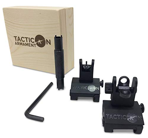 ip Up Iron Sights For Rifle Includes Front Sight Adjustment Tool | Rapid Transition Backup Front And Rear Iron Sight BUIS Set Picatinny Rail And Weaver Rail ()