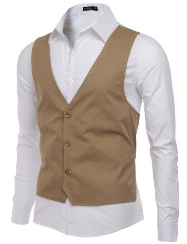 Doublju Mens Front Vest patched Long Sleeve Shirts, Beige, L