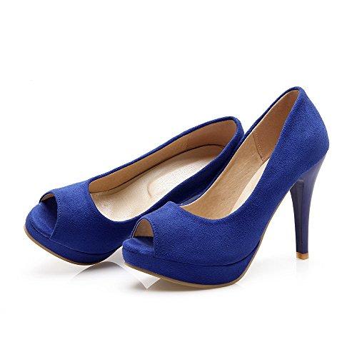 de Sólido cordones Tacón Sandalia de Tacón aguja Sin Peep Mujeres Azul AllhqFashion qn4wRxZpx