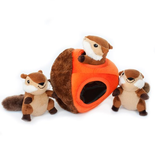 ZippyPaws - Woodland Friends Burrow, Interactive Squeaky Hide and Seek Plush Dog Toy - Chipmunk 'n Acorn by ZippyPaws