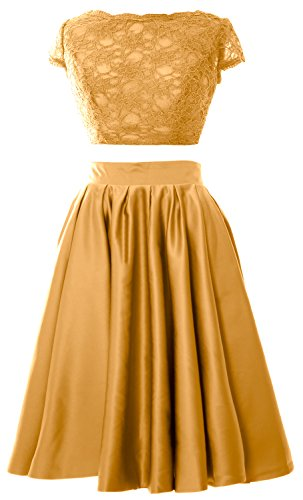 MACloth Women 2 Piece Cocktail Dress Cap Sleeves Short Lace Prom Formal Gown Gold