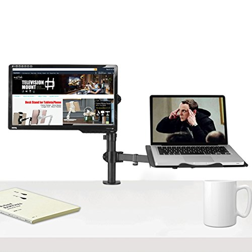 Suptek Full Motion Computer Monitor and Laptop Riser Desk Mount Stand, Height Adjustable (400mm), Fits 13-27'' Screen and up to 17'' Notebooks, VESA 75/100, up to 22lbs for Each (MD6432TP004) by suptek (Image #4)