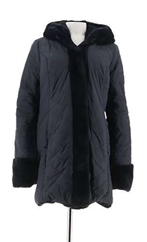 Dennis Basso Water Resist Puffer Reversible Coat A270719, Midnight Blue, M -