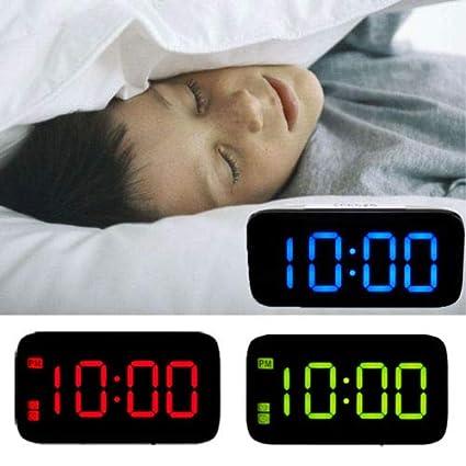 Greetuny R/éveil Num/érique LED Grand /écran Snooze USB Contr/ôle Vocal Cr/éatif Digital R/éveil Lumi/ère de Nuit Bleu