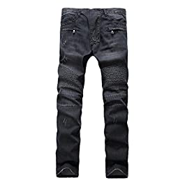 Men's Relaxed Fit Washed Ripped Slim Straight Biker Jean