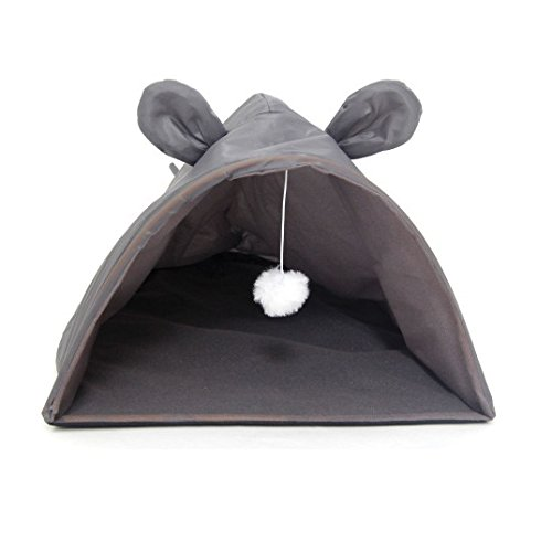 Kole KI-OF791 Mouse Shape Cat House with Hanging Toy, One Size