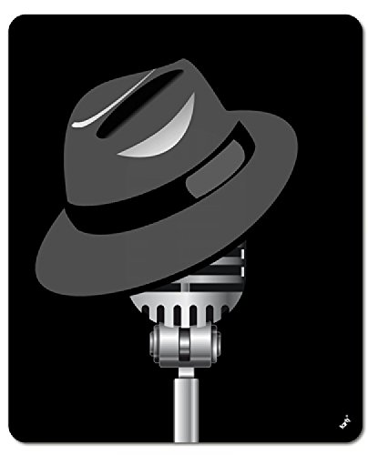 1art1 Music Mouse Pad - Fedora Hat and Microphone (9 x 7 inches)
