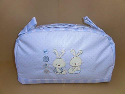 Bolso maternal plastificado azul. Dos asas para colgar en carrito ...