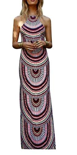Jaycargogo Femmes Manches Cou Sexy Dos Nu Imprimé Bohème Robe Maxi Style Ethnique 1