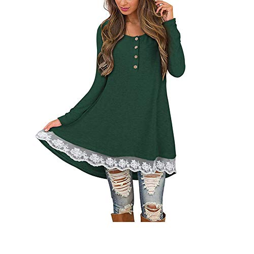 Clearance!HOSOME Women Solid Lace T Shirt Top Women's Autumn Women Autumn Casual Long Sleeve O-Neck Button Blouse