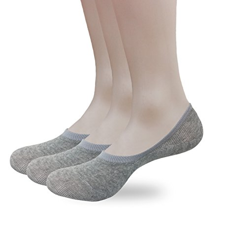 Eedor Mens 3 Pack No Show Loafer Socks Casual Low Cut Ankle, Non-Slip Grip Gray