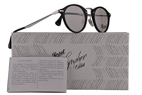 Persol PO3147V Eyeglasses 48-19-140 Shiny Black w/Demo Clear Lens 95 PO3147-V PO 3147-V PO - Persol 140