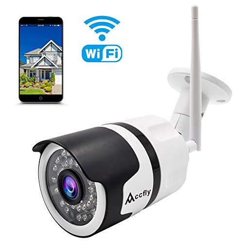 Outdoor Security Camera 1080P HD Wireless Bullet Surveillance Cameras,Cloud WiFi Home Security Surveillance System IP Waterproof IR Night Vision Accfly
