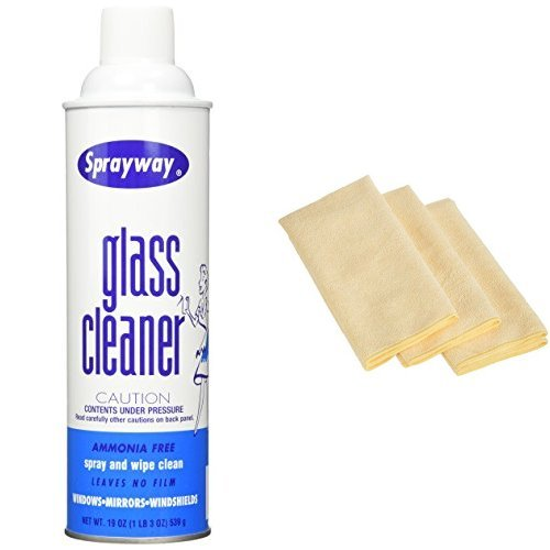 SprayWay 050-12PK Glass Cleaner - 19 oz., Pack of 12 with 3 AmazonBasics Thick Microfiber Cleaning Cloths