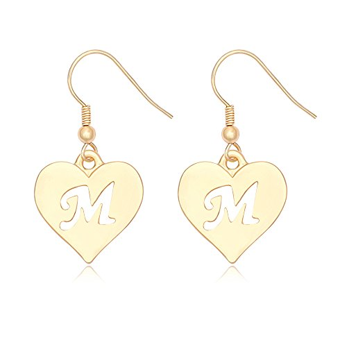SENFAI Heart Shaped Single Initial Alphabet Letters Personalized Charms Dangle Earrings 10K Gold Plated (M1) (Personalized Heart Charm Ring)