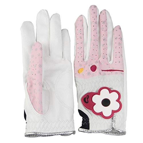 Prettyia Fashion Women Golf Gloves (1 Pair - Left & Right) - Breathable, Super Grip, Non-Slip, Lightweight, Comfortable, Adjustable - Pink, Size 21