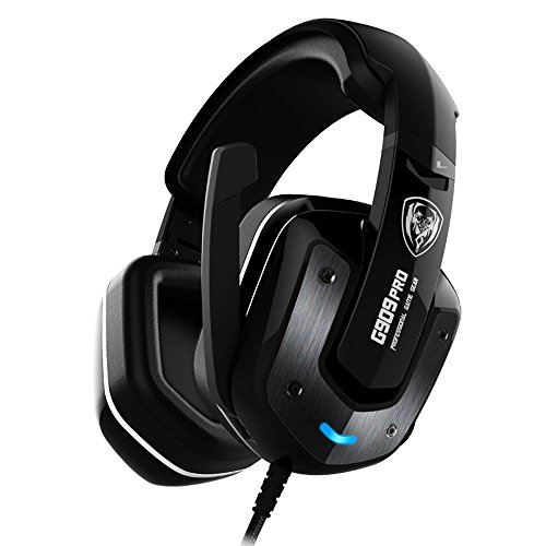SOMIC G909PRO 7.1 Virtual Surround Sound USB Gaming Headset Over Ear Bass Headphone for PS4,PC with Mic,Volume Control,LED(Black) by SOMIC