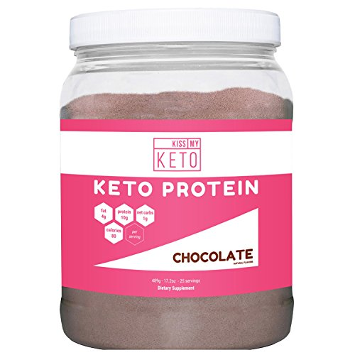 Kiss My Keto Protein Powder - Chocolate Keto Collagen Supplement, Grassfed Collagen Peptides & MCT Oil Powder, Low Carb Keto Shake or Keto Coffee Creamer for Ketogenic Diets, 25 Servings