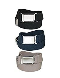 CTM® Kids' Elastic Adjustable Belt with Magnetic Buckle (Pack of 3 Colors)