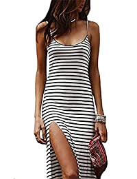 NANYUAYA Women Spaghetti Strap Striped Print Summer Beach Party Side Slit Dress