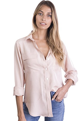 (CAMIXA Womens 100% Silk Blouses Ladies Shirt Casual Pocket Button up Elegant Top L Blush )